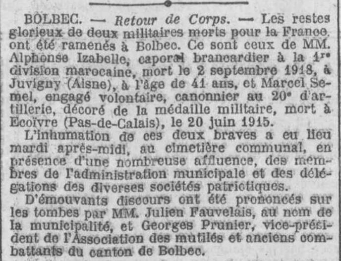 19220302 inhumation izabelle et semel