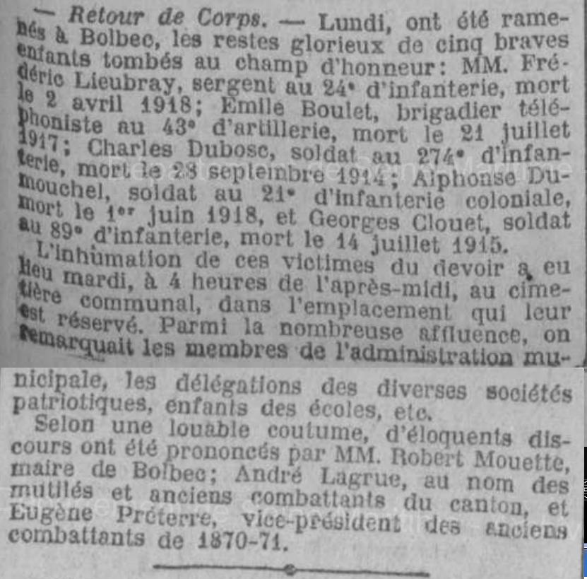 19220322 bolbec ceremonie retour des corps 1