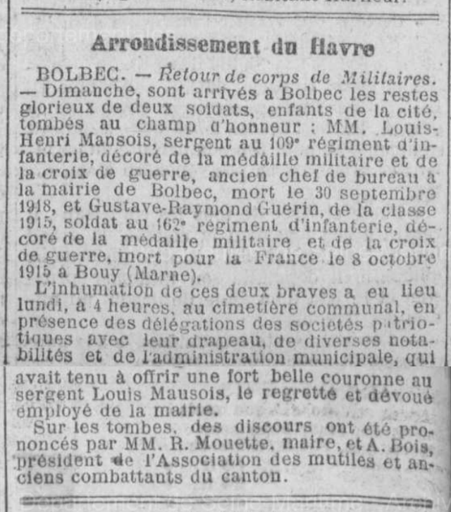 19220412 inhumation mansois louis et guerin 1