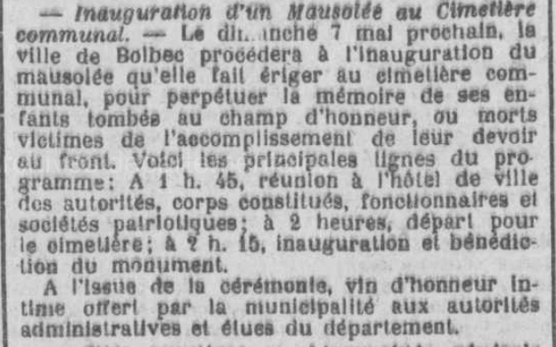 19220423 annonce inauguration mausolee