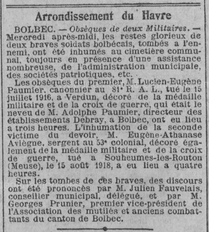 19220616 inhumation paumier et aviegne