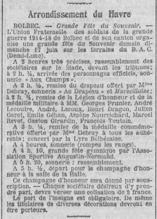 19230616 annonce ceremonie souvenir