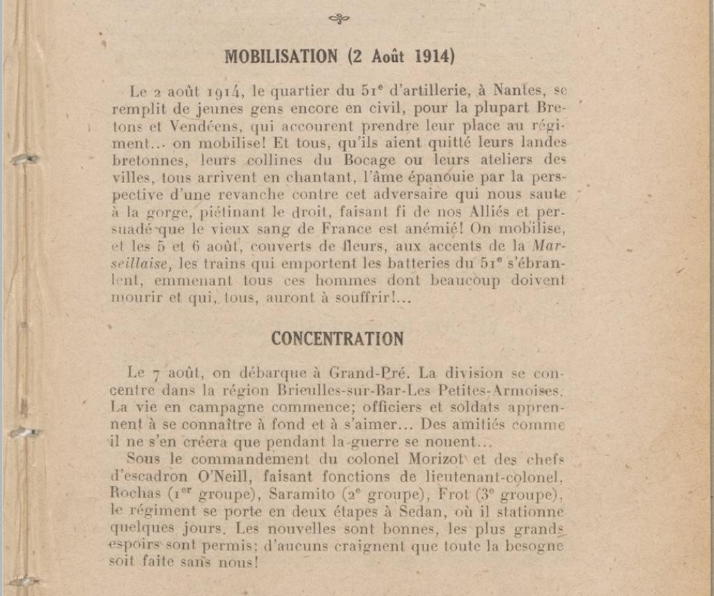 Mobilisation du 51e d artillerie